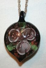 """Lovely Violet Speckled Fluted Flower Lampwork """"Heart"""" Pendant Necklace"""