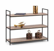 Julian Bowen Tribeca Black Metal & Oak Industrial Steel Low Bookcase Shelves