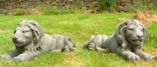 Pair of Laying Classic Lions Heavy Stone Cast Garden Statues by DGS UK 90kgs