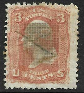 Sc #88 Grill Pen Cancel 3 Cent Washington 1867 US 21A73