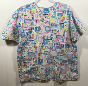 Scrubs Top womens size L Large by Scrub H.Q. spring flowers pink blue yellow grn