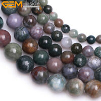 Natural Gemstone Genuine Indian Agate Onyx Stone Beads For Jewelry Making 15""