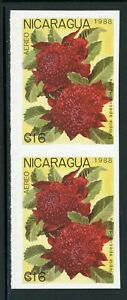 Nicaragua MNH Specialized: Scott #1743 16C Flowers FLORA (1988) IMPERF PAIR $$$