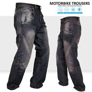 Mens Motorcycle Protective Lined Jeans Knee Armour Biker Denim Trouser Pant BLK