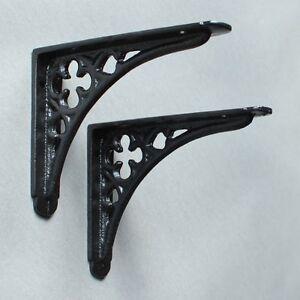 "Pair of BLACK 5x4"" SMALL ANTIQUE VINTAGE GOTHIC CAST IRON SHELF BRACKETS BR03bx2"