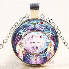 Wolf Cabochon Silver//Bronze//Black//Gold Glass Chain Pendant Necklace #3605