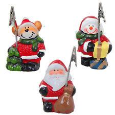 Card Holder Set 3 Figurines Ceramic Deco 8x5cm Elk Snowman Santa Claus