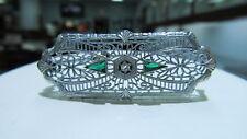 GORGEOUS 10K White Gold Filigree Diamond & Emerald Pin