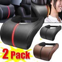 2x Car Seat Head Neck Rest Soft Foam PU Pillow Leather Cushion Pad Auto HeadRest