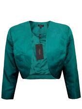 Ladies/Women's EX Alexon GREEN Cropped Jacquard Bolero Jacket - Size 18