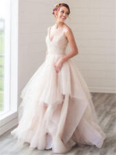 Spaghetti Strap Boho Beach Wedding Dresses Blush Bridal Ball Gowns 6 8 10 12 14+