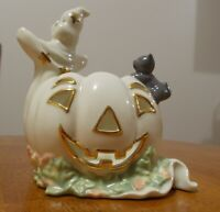 Lenox Occasions Porcelain Halloween Ghost with Pumpkin and Cat Votive