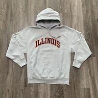Steve & Barry's Illinois Hooded Sweater Mens L Grey Embroidered Illini NCAA