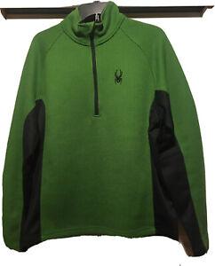 Spyder Core Sweater Unisex Medium Green&Black Fleece Lined 1/4Zip Winter Sports