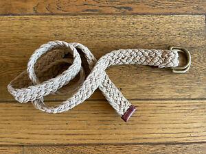 Polo Ralph Lauren RL 67 Tan Braided Cotton/Leather Wide D-Ring Belt Medium
