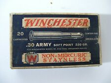 Empty ! Vintage ! 1-Pc Ammo Box Winchester .30 Army 220 Gr. S.P. Cartridges Stay