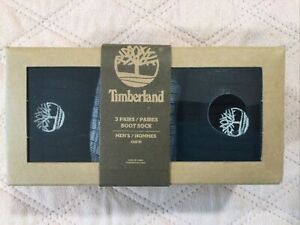Timberland 3 Pack Black/Grey Men's Boot Socks, OSFM