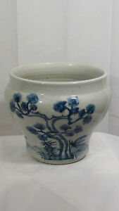 ANTIQUE CHINESE BLUE &WHITE FLOWER POT JARDINIER W/BLOSSOMING PRUNUS BRANCH