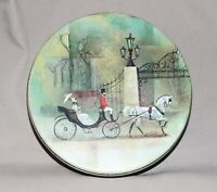 """Vintage Collectors Tin White Horse Fancy Carriage 6 ½"""" Diameter 1 ¾"""" Tall"""