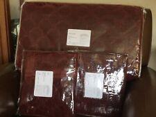 Pottery Barn Velvet Lattice Stitch King Quilt & 2 King Shams New - Ruby Red