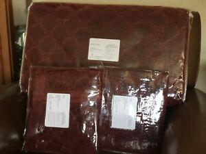 POTTERY BARN Velvet Lattice Stitch KING Quilt & 2 KING Shams NEW - Ruby Red