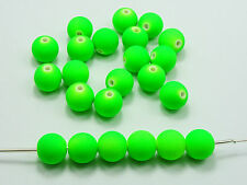 "100 Matte Neon Green Color Acrylic Round Beads 10mm(3/8"") Rubber Tone"