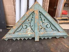 """circa 1880's Victorian gingerbread house gable pediment - old teal paint 77""""x43"""""""