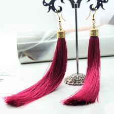 Boho Womens Earrings Vintage Long Silk String Tassel Fringe Dangle Drop Earrings