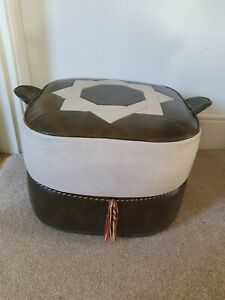 Retro 1960s/1970s Sherbourne Brown & Beige Vinyl Square Footstool or Pouffe
