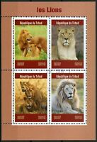 Chad 2019 CTO Lions 4v M/S Big Cats Wild Animals Stamps