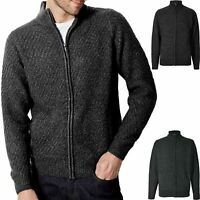 Mens Fleece Textured Zip Up Cardigan Cable Knit Weave Ribbed Sleeve Jumper S-4XL