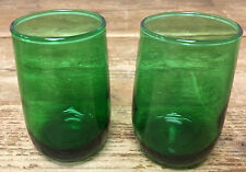 Roly Poly Dk Forest Green Glass 2 Flat Juice Glasses Plain Anchor Hocking 194896