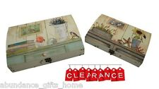 Nested Floral / Sea Distressed Wooden Boxes w/ Curved Lids Set/2 **CLEARANCE**