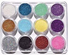 (29,50€/100g) Glitter Pulver Glitzer Staub Glimmer Puder basteln 12 Dosen *NEU