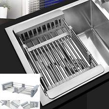 Stainless Steel Kitchen Dish Drying Rack Telescopic Filter Basket Sink Organizer