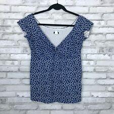 J Crew Womens 0 V Neck Blue Polka Dot Blouse 100% Cotton Popover Cap Sleeve