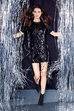 Topshop Velvet Flocked Sequin Bodycon Dress - Black - UK6/EU34/US2