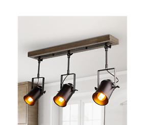 Farmhouse 2 ft. 3-Light Texture Black Spotlights Track Lighting Kit Wood Canopy