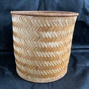 Vintage Woven Wicker Bamboo Boho Storage Bin Basket Tall Round 28 X 25cm 1970s