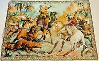 """Large 46""""x64"""" Vintage Woven Tapestry/ Wall Hanging Rug Middle East Lion Hunting"""