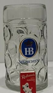 HUGE HB MUNCHEN GLASS BEER STEIN 1 Lt