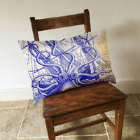 Blue Octopus Long Cushion Covers Pillow Cases Home Decor Inner