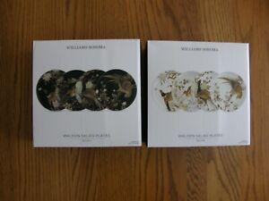 Williams Sonoma 4 Black & 4 White Walden Salad Plates-Nature, Pheasant - New
