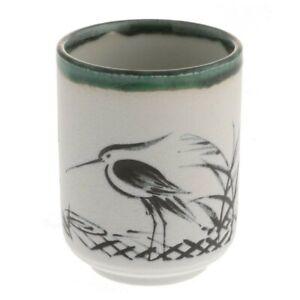 """Japanese 3-5/8"""" H Sushi/Tea Cup Yunomi Oribe Ink Heron / Made in Japan"""