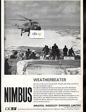 BRISTOL SIDDELEY NIMBUS HELICOPTER ENGINES FOR WESTLAND WASP & SCOUT FOR RAF AD