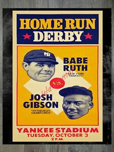 MLB Negro League Home Run Derby babe Ruth Josh Gibson Art Reprint 16 X 20 Photo