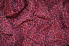 PINK LEOPARD ANIMAL PUNK PRINT LIGHT WEIGHT STRETCH DENIM JEANS FABRIC MATERIAL