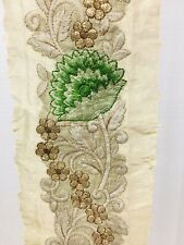Vintage Embroidery Trim Floral w/ Green & Gold Flowers