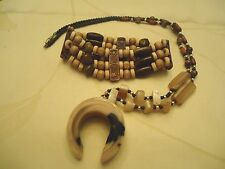 "Vintage U Shaped Pendant -Horn? on a Multi Shaped/Colored Stone Necklace 22+"" &"