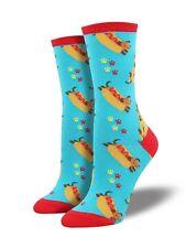 Weiner Hot Dog Dachshund Socks Shoe Size 6-12 Teal Blue Women's Crew Sock